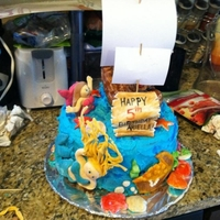 My First Fondant Cake Ever This was my very first attempt at the following: carving a rice krispy sculpture (the ship), using fondant, and making a layered cake with...
