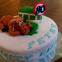 Horse.... Was asked to decorate this cake..... the cake is not mine.... just the decorations. Customer likes horse racing