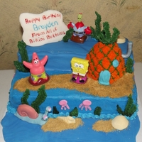 Birthday At Bikini Bottom This is a cake I did for a friends sons 4th birthday. Sponge Bob, Patrick, and Mr, Crabs were from a cake topper set. All the rest were...