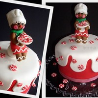 Kiss The Cook Gingerbread Cook On Christmas Cake I Made The Cookies Also Of Fondant Kiss the cook! Gingerbread cook on Christmas cake. I made the 'cookies' also of fondant.