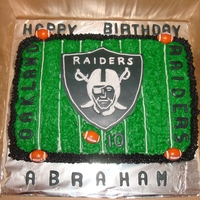 Oakland Raiders Cake Oakland Raiders Cake made by Stephanie S from our Santa Cruz County chapter. A CASA advocate ordered this cake for a boy in the system.