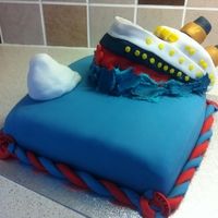Sinking Titanic Cake For a friends birthday who's mad about the Titanic!