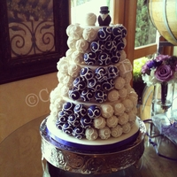 Purple And Ivory Wedding Cake A cake ball cake for a wedding at South Coast Winery, Temecula, CA.