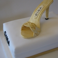 Gina High Heel Shoe Cake   Sugar paste high heel shoe on sponge cake shoe box.