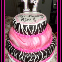 Pink/zebra Striped Birthday Cake I did this cake for a 17 year old who is into zebra print and hot pink!