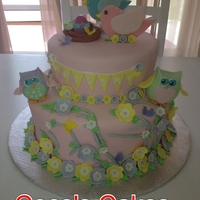 Birds & Owls Baby Shower Cake   Almond cake with SMBC covered in Fondant. Please leave a comment if you like it...