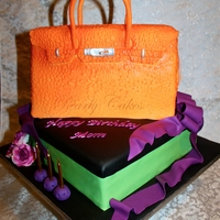 Hermes Birkin Bag Cake sponge cake with strawberry & cream filling for the Purse Cake. Chocolate cake with Mocha filling for the base layer.