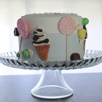 Icecream And Lollipops Cake!   Fun, cute little birthday cake for my daughter who turned two.