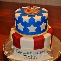 Eagle Scout Cake   MMF and a frozen butter cream transfer.