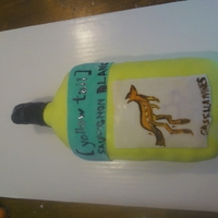 Wine Bottle Cake yellow tail sauvignon blanc, my cousins favortie wine for her birthday cake