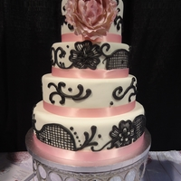 Black Lace Wedding Here's one of the wedding cakes I prepared for the Calgary Wedding Fair Trade Show. This pattern on this cake has been popular with a...
