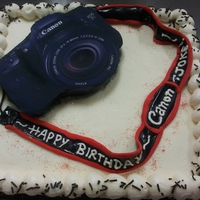 Canon Camera I was really pressed for time for this cake, but it was for a friend and he was really understanding (he wanted a 3D fondant camera...