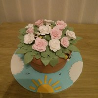 Flower Pot Rose *This is an edible flower pot with edible roses and leaves. The cake was made for a charity raffle at a Bee and Honey show. If you look...