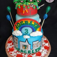 Girlie Ninja Turtles This cake was made for cousins who were celebrating their birthday together! The Ninja turtle aren't just for the boys anymore! :-)