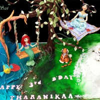 Cake For Our Little Princess: Princesses Ariel, Jasmine & Elsa And Friends Olaf, Flounder & Rajah Princess Ariel, Princess Jasmine & Princess Elsa and friends Olaf, Flounder & RajahMoving Swing, Flying carpet, Tree