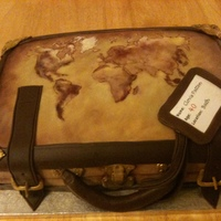 A Birthday Cake For A Man Who Loves Travelling hand painted old style map