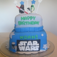 Lego Star Wars Cake Marshmallow fondant covered. Figurines are fondant and modeling chocolate.