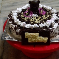 Chocolate Mousse Cake For My Daughter   chocolate cake with chocolate mousse as filling n chocolate curls n choco teddy as garnish