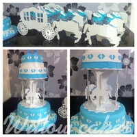 Finlay Dean Christening Cake   three tier christening cake in fruit, chocolate and lemon. with vanilla cupcakes