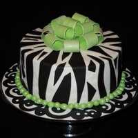 Zebra Cake Zebra print done with black fondant on white buttercream