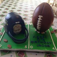 This Was For A Very Special Little Blessing Named Jacob Turning 5. The Helmet Is French Vanilla Cake And Buttercream, Covered In...