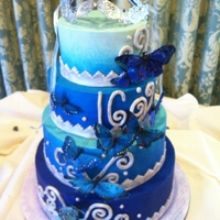 Ombre Sweet 16 Blue ombre light to dark with butterflies cascading dark to light. This was for a gorgeous sweet 16.