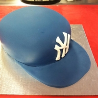 Yankees Hat Cake   Carved and covered in fondant