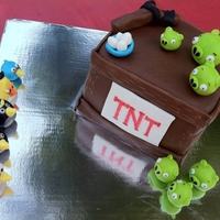 Angry Birds Cake This was a personal 'smash' cake for my nephew for his 3rd birthday. All the birds were made out of rice krispy treats covered in...