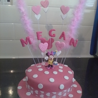 Minnie Mouse Cake   MM Cake with spray of hearts and feathers