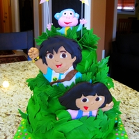 Dora & Diego Birthday Cake Chocolate cake with chocolate buttercream frosting, fondant leaves, fondant-covered wafer cookie characters & rice paper banner.