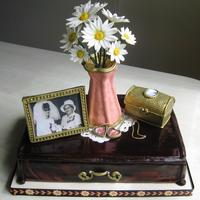 Lemon Amp Raspberry Jewelry Box Cake With Edible Re Creations Of Moms Mementoes And Gumpaste Doily Amp Daisies Lemon & raspberry jewelry box cake with edible re-creations of mom's mementoes, and gumpaste doily & daisies.