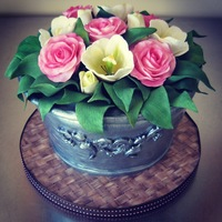 Rose Amp Tulip Bucket 85Th Birthday Cake Rose & tulip bucket 85th birthday cake.