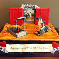 Gym-Themed Wedding Cake For the lovely & unconventional couple that met at the gym... Vanilla bean cake filled with fresh strawberries & buttercream,...