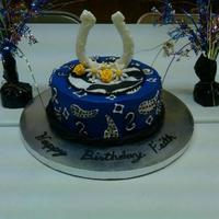 Western Theme Birthday Cake With Chocolate Horseshoe   *western theme birthday cake with chocolate horseshoe