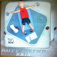 Weight Bench Cake   Done for my son's 30th Birthday