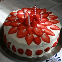 Strawberry Cake This is an easy a tasty strawberry cake. Lovely for hot days, because is fresh and cold. Really looks lovely on a table because of the red...
