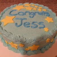 Graduation Cake Silver White Cake with blue butter cream and yellow fondant stars