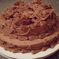 Brown Rose Cake Chocolate pound cake with chocolate buttercream frosting and roses