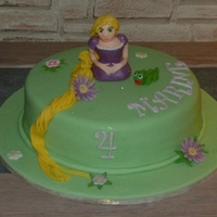 Tangled Cake. This cake is a vanilla sponge with 3 layers of milk, white, and dark chocolate ganache.