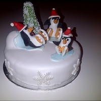My First Penguins Christmas Cake My first penguins Christmas cake!