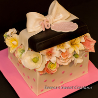Flowers Box Cake ...all Edible And Handmade By Me:) Flowers box cake ...all edible and handmade by me:)