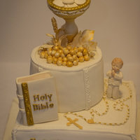 First Holy Communion Cake With Chalice And Bible ....all Edible And Handmade By Me:) FIRST HOLY COMMUNION CAKE with chalice and bible ....all edible and handmade by me:)