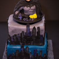 Batman Cake With Spinning Batman Topper (Video Soon)....all 100% Edible And Handmade By Me :) Batman Cake with spinning Batman topper (video soon)....all 100% edible and handmade by me