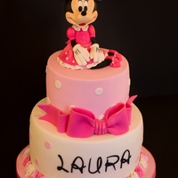 Minnie Mouse Cake :) All Edible And Handmade By Me:) It's pink and ... has a pretty bow!......Polka Dot & Pink Minnie Mouse First Birthday Cake for Laura:)