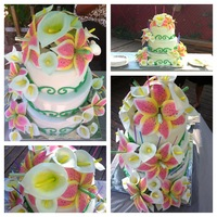 Stargazer Lilly Cake   Calla Lilly and Stargazer Lilly sweet sixteen cake all the flowers were hand made and edible.