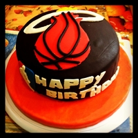 Miami Heat Birthday Cake   chocolate cake with cookies and cream filling