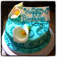 Calla Lily Cake vanilla with chocolate filling covered with fondant and calla lilies