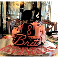 Barbie Cake This a Barbie cake i did for a 18 year old it is red velvet with cream cheese frosting covered with pink black and white fondant