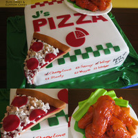 "10 Red Velvet Pizza Box And Vanilla Cake Hot Wings All Edible Including The Plate 10"" red velvet pizza box and vanilla cake hot wings! All edible including the plate."
