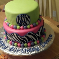 "Deanna 10Th B-Day White cake covered in MFF, zebra print is Wilton edible sugar sheets. I mixed 50/50 gum paste and fondant for the purple so the ""10&..."